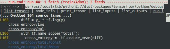 tfdbg run-end UI: annotated Python source file