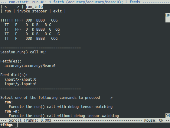 tfdbg run-start UI